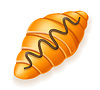Vector clipart: crispy croissant drizzled with chocolate