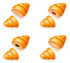 Vector clipart: set icons of fresh crispy croissants with jam