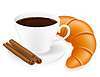 Vector clipart: cup of coffee and croissant