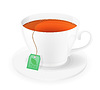 Vector clipart: porcelain cup of tea in package with rope