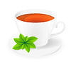 Vector clipart: porcelain cup of tea with mint