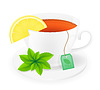 Vector clipart: porcelain cup of tea with lemon and mint