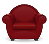 Vector clipart: red armchair furniture