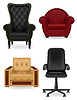 Vector clipart: set icons armchair furniture