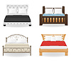 Vector clipart: set icons furniture double bed