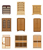 Vector clipart: set icons furniture wardrobe cupboard and commode
