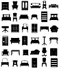 set icons furniture black silhouette outline
