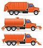 Vector clipart: cargo trucks municipal cleaning services