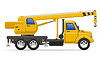 cargo truck with crane for lifting goods