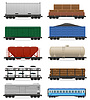 Vector clipart: set icons railway carriage tra