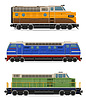Vector clipart: set icons railway locomotive tra