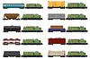 Vector clipart: set icons railway train with locomotive and wagons