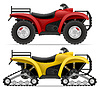 Vector clipart: atv motorcycle on four wheels and trucks off roads