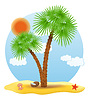 Vector clipart: palm tree stands on sand