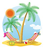 Vector clipart: beach chairs stand under palm tree