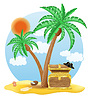 Vector clipart: chest of gold standing under palm tree