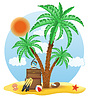 Vector clipart: suitcase standing under palm tree