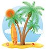 Vector clipart: surfboard standing under palm tree