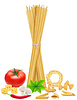 Vector clipart: pasta with vegetables