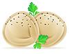 Vector clipart: dumplings pelmeni of dough with filling and greens