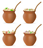 Vector clipart: dumplings of dough with filling and greens in clay