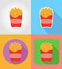 Vector clipart: fried potatoes fast food flat icons with shadow