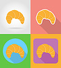 Vector clipart: croissant fast food flat icons with shadow