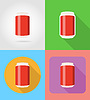 soda in can fast food flat icons with shadow illu