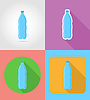 mineral water in plastic bottle fast food flat icon