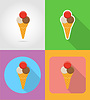 Vector clipart: ice cream fast food flat icons with shadow