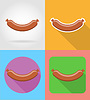 Vector clipart: fried sausage fast food flat icons with shadow