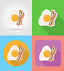 Vector clipart: fried egg and bacon fast food flat icons with shadow