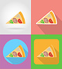 pizza fast food flat icons with shadow