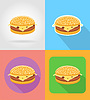 Vector clipart: cheeseburger sandwich fast food flat icons with