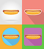 Vector clipart: hot-dog fast food flat icons with shadow