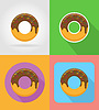 Vector clipart: donut fast food flat icons with shadow