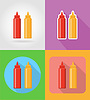 ketchup and mustard fast food flat icons with shadow