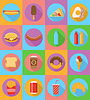 fast food flat icons with shadow