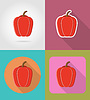 pepper vegetable flat icons with shadow