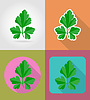 Vector clipart: parsley vegetable flat icons with shadow