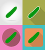 Vector clipart: cucumber vegetable flat icons with shadow