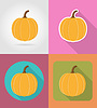 Vector clipart: pumpkin vegetable flat icons with shadow