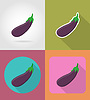 Vector clipart: eggplant vegetable flat icons with shadow