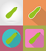 Vector clipart: zucchini vegetable flat icons with shadow