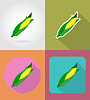 Vector clipart: corn vegetable flat icons with shadow