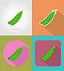 Vector clipart: peas vegetable flat icons with shadow