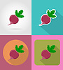 Vector clipart: radishes vegetable flat icons with shadow