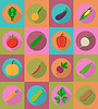 Vector clipart: vegetables flat icons with shadow