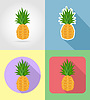 Vector clipart: pineapple fruits flat set icons with shadow