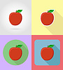 Vector clipart: apple fruits flat set icons with shadow